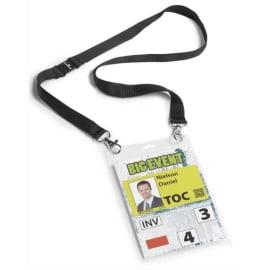 DURABLE Boîte 10 Porte-badges évènementiel A6 avec lacet textile Duo Noir photo du produit