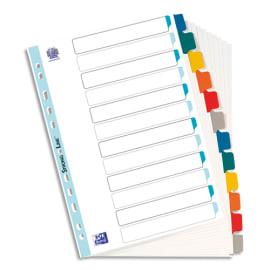 OXFORD Intercalaire en carte Blanche 170g, 12 positions renforcées mylar, format A4. Coloris assortis photo du produit