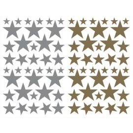 MAILDOR Sachet de 4 planches 10,5x16cm, 152 gommettes Initial étoile couleurs or/argent assorties photo du produit