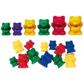 Lot de 96 oursons à trier 3 tailles 4 couleurs livré dans un seau de rangement photo du produit