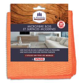 ST WANDRILLE Chiffon microfibre double face Orange, spéciale bois et surfaces modernes, format 40 x 40 cm photo du produit