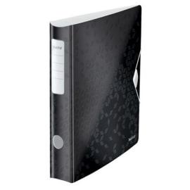 LEITZ Classeur à levier WOW 180° en polypropylène. Dos 65mm. Fermeture par élastique. Coloris Noir. photo du produit