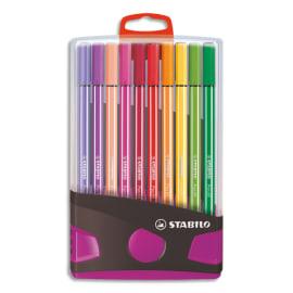 STABILO Etui plastique refermable ColorParade lilas 20 feutres PEN68. Pointe moyenne. Coloris assortis photo du produit