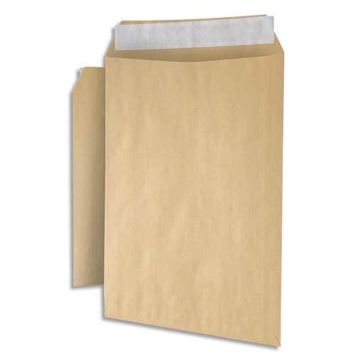 Paquet de 250 pochettes plates kraft brun recyclé 90g, C5 : 162x229mm. Autoadhésive photo du produit Principale L