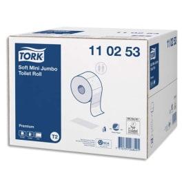 TORK Colis de 12 Bobines Papier toilette Mini Jumbo Premium doux 2 plis L170 m x D18 cm Blanc logo Bleu photo du produit
