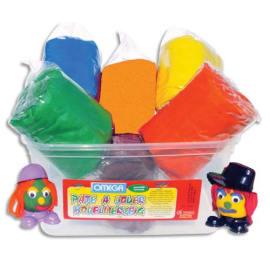 Assortiment de 6 pains de 500g de pâte à jouer en Boîte : Bleu, Rouge, Vert, Jaune, Marron, Orange photo du produit