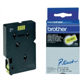 BROTHER Cassette Ruban TC Noir/Jaune 12mmx7,7m TC601pour PT500/8E/2000/3000/5000 photo du produit