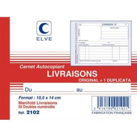 ELVE Manifold autocopiant Livraison format 10,5x14cm, 50 feuillets dupli photo du produit