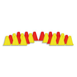 FIRST LOISIRS Lot de 24 cônes balise en plastique, hauteur 15 cm, Jaune et Rouge photo du produit