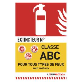 LIFEBOX Panneau de signalisation classe feu ABC présence d'extincteur à tpoudre photo du produit