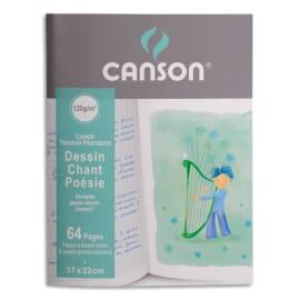 CANSON Cahier Poésie et Chant enfant 32 pages grands carreaux Séyès + 32 pages dessin 17x22 photo du produit