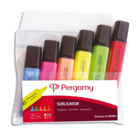 Pochette de 6 surligneurs pointe biseautée coloris assortis photo du produit