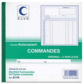 ELVE Manifold autocopiant commande format 21x21cm, 50 feuillets tripli photo du produit