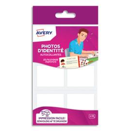 AVERY Blister de 18 photos d'identités autocollantes et imprimables, format : 35x45mm photo du produit