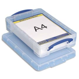 RLU Boîte de rangement + couvercle 4 Litres - Dimensions : L39,5 x H8,8 x P25,5 cm coloris transparent photo du produit