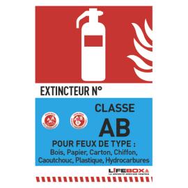 LIFEBOX Panneau de signalisation classe feu AB présence d'extincteur à eau pulvérisée photo du produit