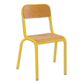 SODEMATUB Lot de 4 chaises scolaire Alexis, hêtre, Jaune, assise 35 x 36 cm, taille 6 photo du produit