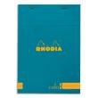 RHODIA Bloc coloR agrafé en-tête 14,8x21 (n°16) 140 pages lignées. Couverture rembordée Turquoise photo du produit
