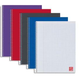 PLEIN CIEL Cahier spirale 21x29,7cm 180 pages petits carreaux 5x5 90g. Couverture polypro assortie photo du produit