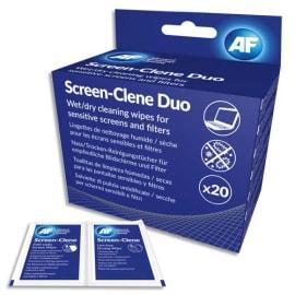 AF Boîte de 20 sachets duo humide/sec antistatiques pour tous type d'écrans (LCD, TFT et Plasma) ASCR020 photo du produit