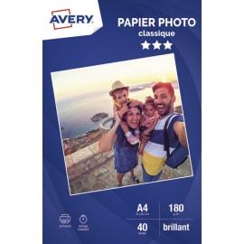 AVERY Boîte de 40 feuilles de papier photo brillant A4, Jet d'encre, 180 g/m² photo du produit