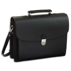 ALASSIO Serviette Deluxe Noire en simili cuir 5 compartiments + poches - Dimensions : L40 x H32 x P15 cm photo du produit