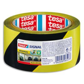 TESA Ruban adhésif Signal Universal Noir et Jaune, polypropylène, pour marquage, 52 microns, 66 m x 50 mm photo du produit