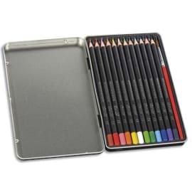 CONTE Boîte métal 24 crayons de couleur. Corps Noir. Coloris assortis photo du produit
