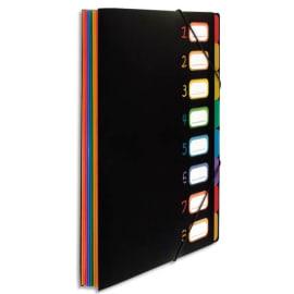 VIQUEL Trieur RAINBOW 8 compartiments à soufflet en polypro 5/10, extérieur Noir intérieur multicolore photo du produit