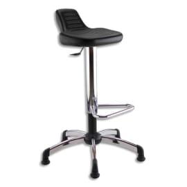 Siège Assis Debout en PU Noir, assise pivotante et inclinable, piètement et repose-pieds chromé photo du produit