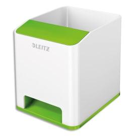 LEITZ Pot à crayons booster de son Dual Blanc Vert métallisé - Dimensions : L9 x H10 x P10,1 cm photo du produit