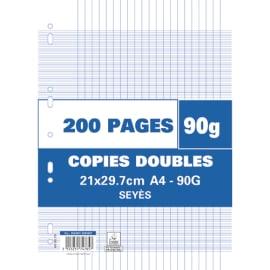 Sachet de 200 pages copies doubles grand format A4 grands carreaux Séyès 90g perforées photo du produit