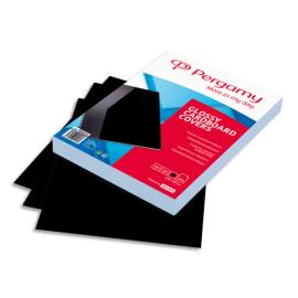 PERGAMY Boîte de 100 plats de couverture brillants A4 250gr Noir 900030 photo du produit