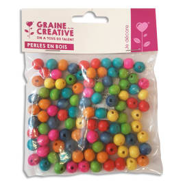 GRAINE CREATIVE Sachet de 100 perles en bois colorées assorties diamètre 10 mm, trou 2mm photo du produit