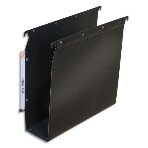 OBLIQUE AZ Paquet de 10 dossiers suspendus ARMOIRE en polypro opaque 5/10e.Fond 80, bouton-pression. Noir photo du produit Principale L