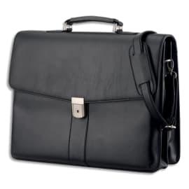 ALASSIO Malette Noire Pescara imitation cuir avec plusieurs compartiments 31 x 41 x 12,5cm 47014 photo du produit