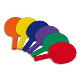 FIRST LOISIRS Lot de 6 raquettes ping pong en plastique, couleurs assorties photo du produit