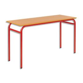 SODEMATUB Lot de 4 tables scolaire biplace, hêtre, Rouge - Dimensions : L130 x H74 x P50 cm, taille 6 photo du produit