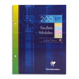 CLAIREFONTAINE Etui 200 copies simples 17x22 grands carreaux Séyès 50p à la coul:Bleu,Rose,vert,Jaune photo du produit