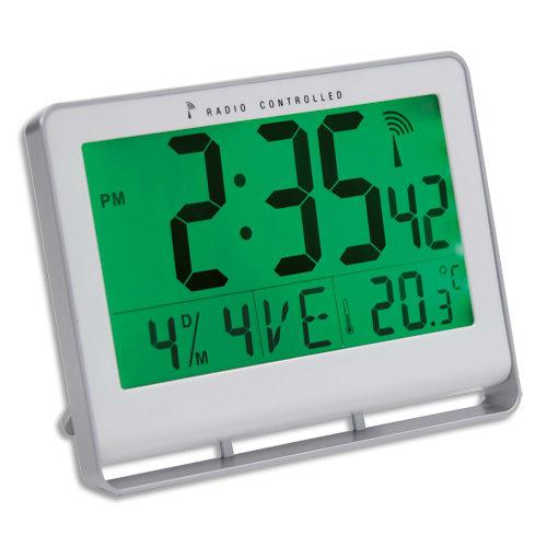 ALBA Horloge murale LCD multifonction radio-pilotée livrée 2 piles AAA fournies en ABS L20 x H15 cm Blanc photo du produit Principale L