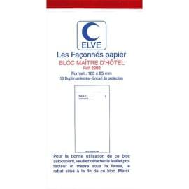 ELVE Bloc maitre d'hotel 50 feuillets 75x150 mm 50/2 autocopiant photo du produit
