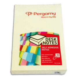 PERGAMY Bloc de 100 feuilles repositionnables dimensions 7,6x5,1cm. Coloris Jaune pastel. photo du produit