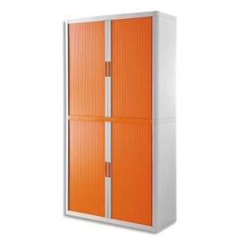 PAPERFLOW EasyOffice armoire démontable corps en PS teinté Blanc Orange - Dimensions L110xH204xP41,5 cm photo du produit
