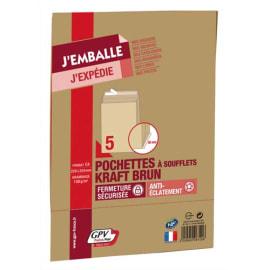 GPV paquet de 5 pochettes kraft brun auto-adhésif, format C4 229x324mm soufflet 30mm 120g photo du produit