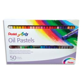 PENTEL Boîte de 50 pastels à l'huile diamètre 8 mm, couleurs assorties photo du produit