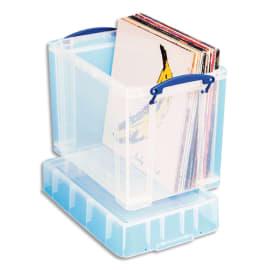 RLU Bac plastique 19L transparent Extra Large avec couvercle pour disques vinyles L39,5 x H33 x P25,5 cm photo du produit
