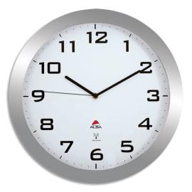 ALBA Horloge murale Horissimorc radio-pilotée contour ABS Gris, chiffre Noir sur fond Blanc - D38 cm photo du produit