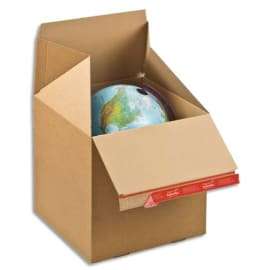 COLOMPAC Carton d'expédition Eurobox L Brun simple cannelure, fermeture adhésive L39,4 x H38,7 x P29,4 cm photo du produit