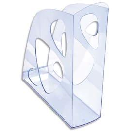 Porte-revues ECO en polystyrène, Bleu translucide - Dos 7,7 cm, H25,7 x P24,8 cm photo du produit