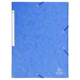 EXACOMPTA Chemise 3 rabats et élastique monobloc, carte lustrée 5/10e Bleu, élastique fixé devant photo du produit